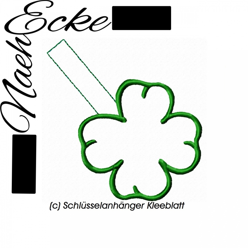 Stickdatei Kleeblatt Schlüsselanhänger 10x10