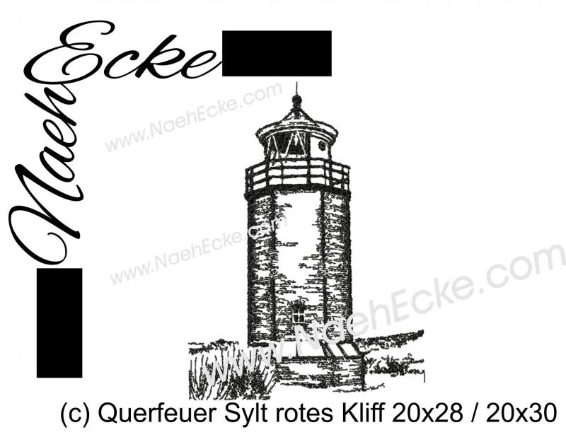 Stickdatei Quermarkenfeuer Rotes Kliff Sylt 20x28 / 20x30 Scrib-Art