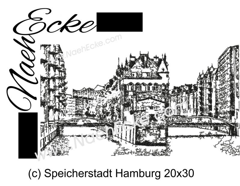 Stickdatei Hamburg Speicherstadt 20x30 Scrib-Art