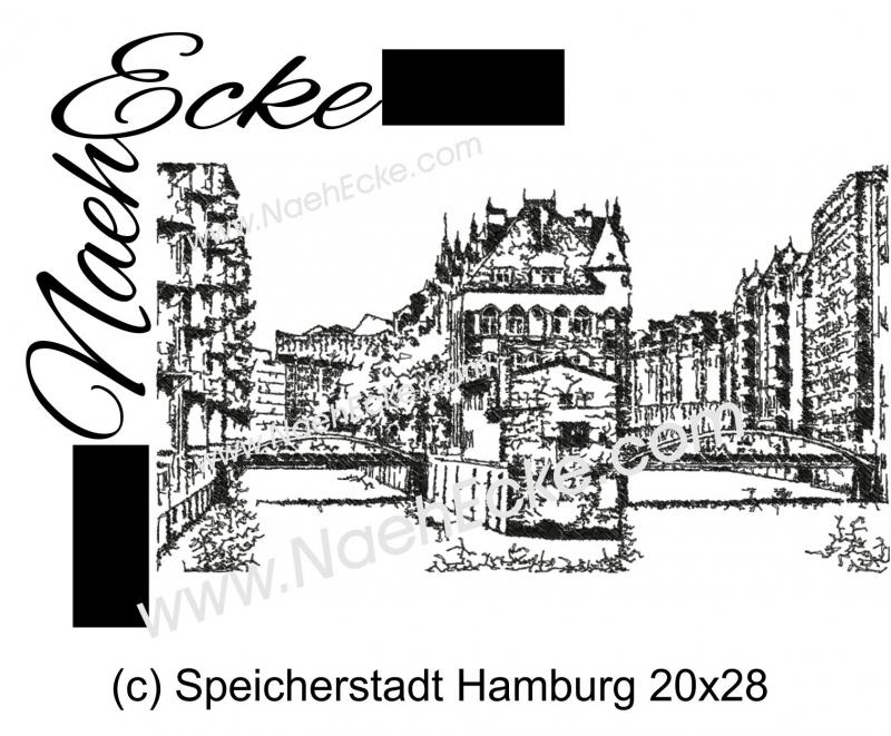 Stickdatei Hamburg Speicherstadt 20x28 Scrib-Art