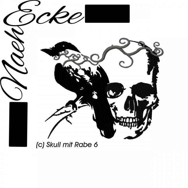 Stickdatei Skull mit Rabe Nr.6 10x10