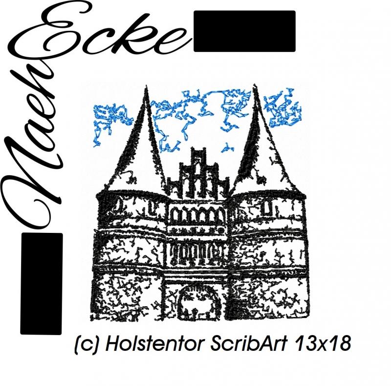 Stickdatei Lübeck Holstentor 13x18 Scrib-Art