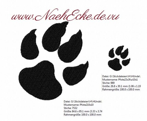Stickdatei Pfote / Hundepfote Nr. 2