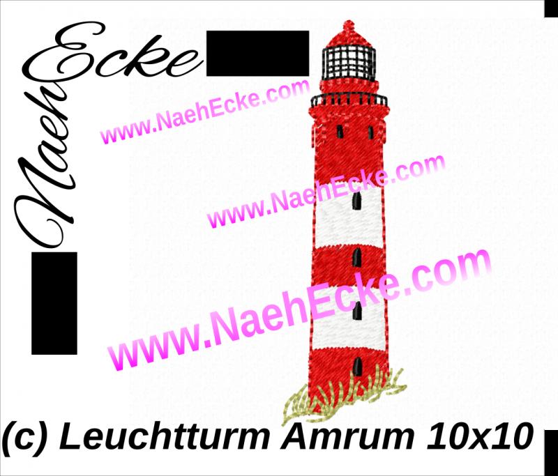 Stickdatei Leuchtturm Amrum 10x10