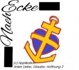 Stickdatei Applikation Anker Liebe, Glaube, Hoffnung 2 10x10